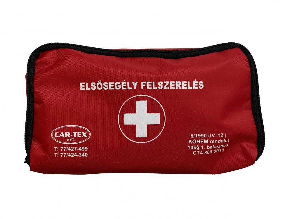 """Elsősegély felszerelés """"B"""" típusú HU tartalommal piros táskában BETADINNAL személygépjárművekhez /KöHÉM/"""