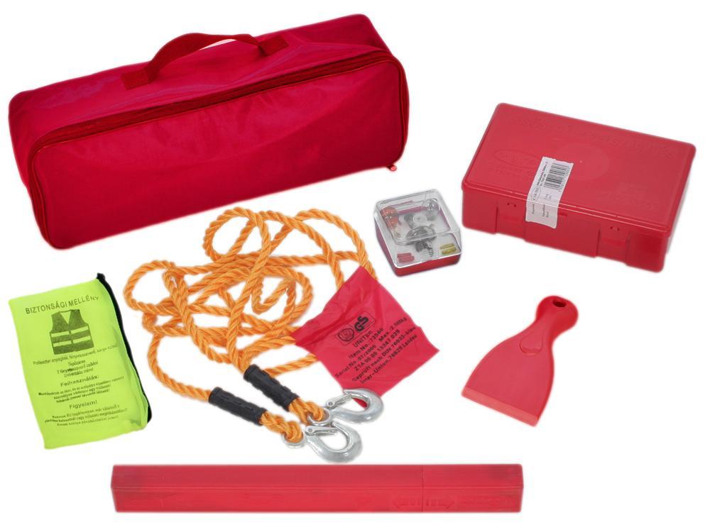KRESZ-tartozék táska magyar mentődobozzal, nagy táskában (H7 izzókészlet, háromszög, mellény, jégkaparó, 1,8 vontatókötél)