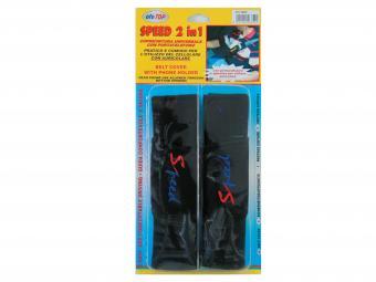 Biztonsági öv párna Speed telefontartóval fekete színben 6852 (PÁR)