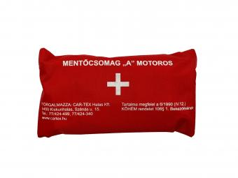 """Elsősegély felszerelés """"A"""" típusú HU tartalommal piros táskában motorkerékpárokhoz /KöHÉM/"""
